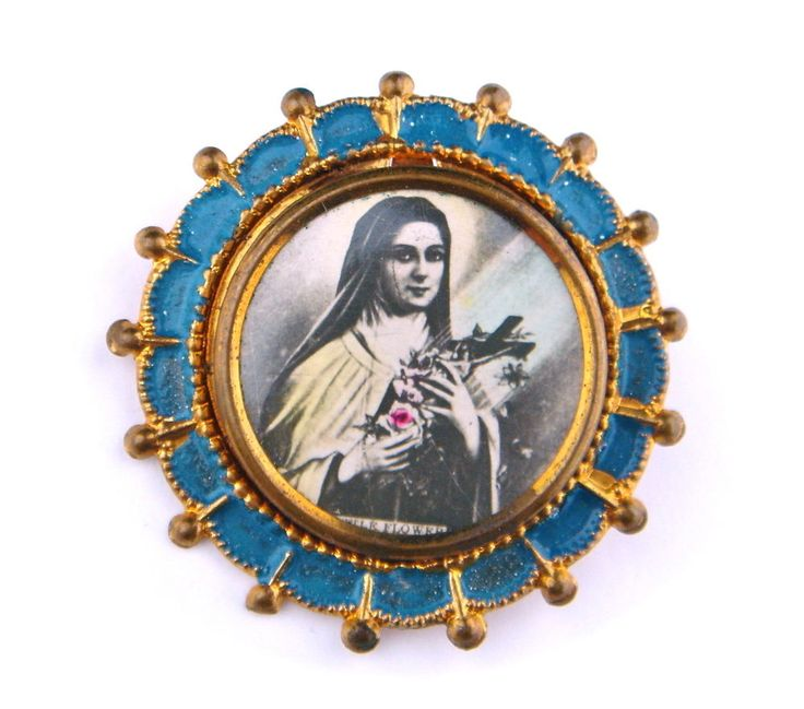 Antique Vintage Religious Brooch Pin Christian Saint Therese Catholic Gold Tone