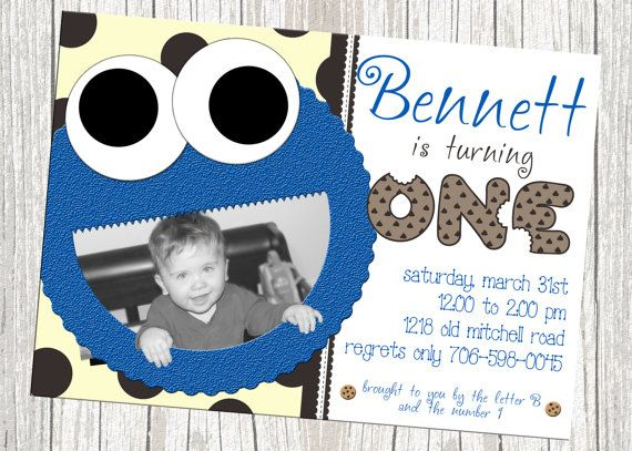 Cookie Monster Birthday Invitation  Sesame by mommybrain2designs, $10.99
