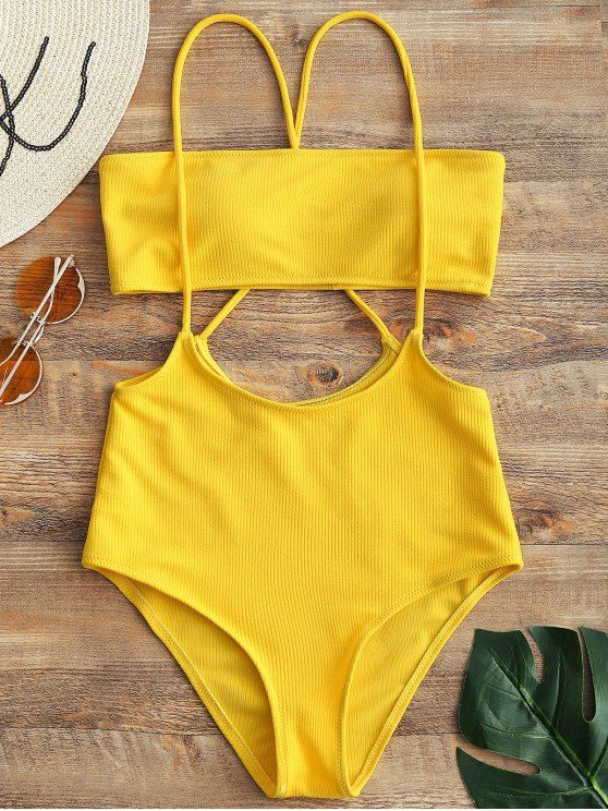 426816e3c47f1 Bandeau Top And High Waisted Slip Bikini Bottoms.  Zaful  Swimwear  Bikinis  zaful