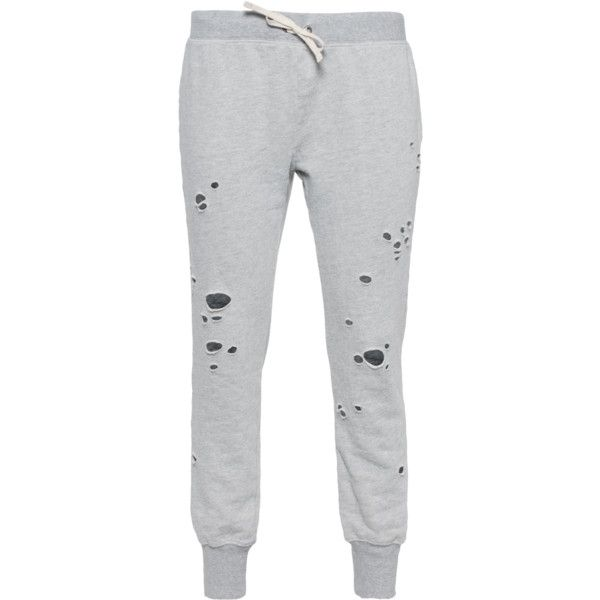 Pam&Gela Betsee Heather Grey // Sweat pants in destroyed look ($230) ❤ liked on Polyvore featuring pants
