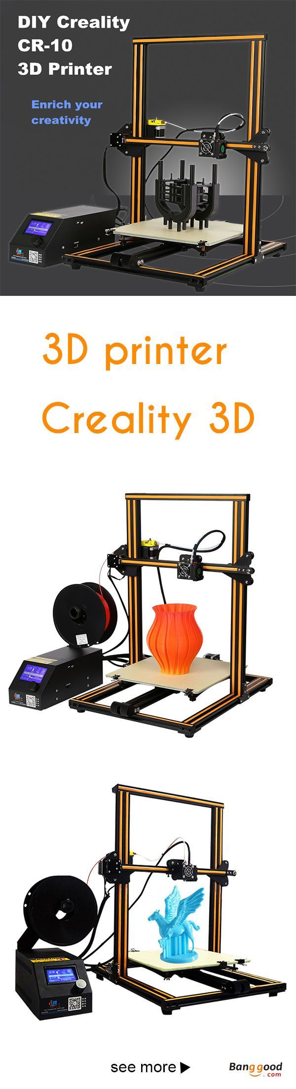 US$494.99 + Free shipping. Creality 3D® CR-10 DIY 3D Printer Kit 300*300*400mm Printing Size 1.75mm 0.4mm Nozzle.  The printer comes 90% assembled as in description 10% remaining assembly is really easy, even a child can do that. #Hot  sale, click for more!