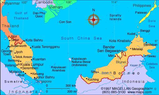 Map of Malaysia: Malaysia is on the Malay Peninsula in ...