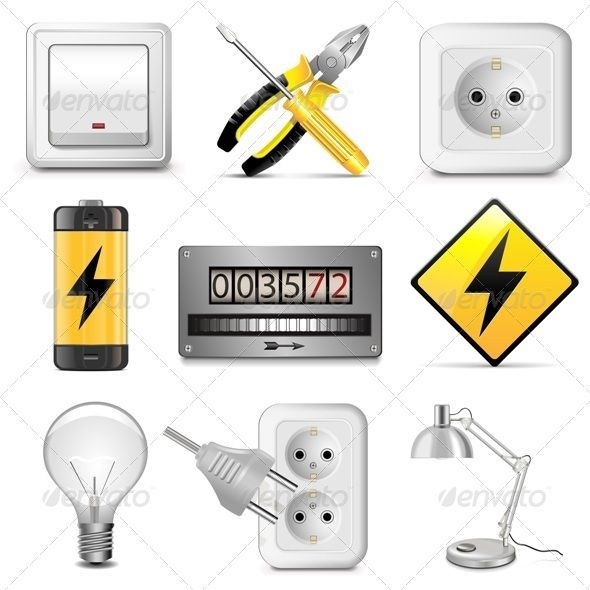Vector Electrical Icons  #GraphicRiver         Folder include EPS10, Ai and JPG files. EPS10, Ai files can edit in Adobe Illustrator CS5, CS5.5, CS6 and CS. 100% Vector. Vector Electrical Icons isolated on white background. Gradients and blends used.     Created: 28August13 GraphicsFilesIncluded: JPGImage #VectorEPS #AIIllustrator Layered: No MinimumAdobeCSVersion: CS Tags: ElectricMeter #accumulator #battery #bulb #circuit #electric #electricity #energy #installation #lamp #light #lighting…