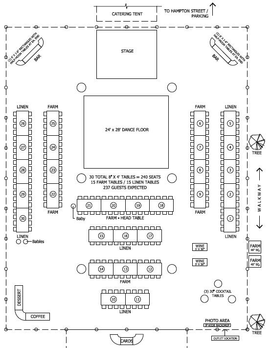 Floor plan for tent barn wedding reception but cake table for Table layout design