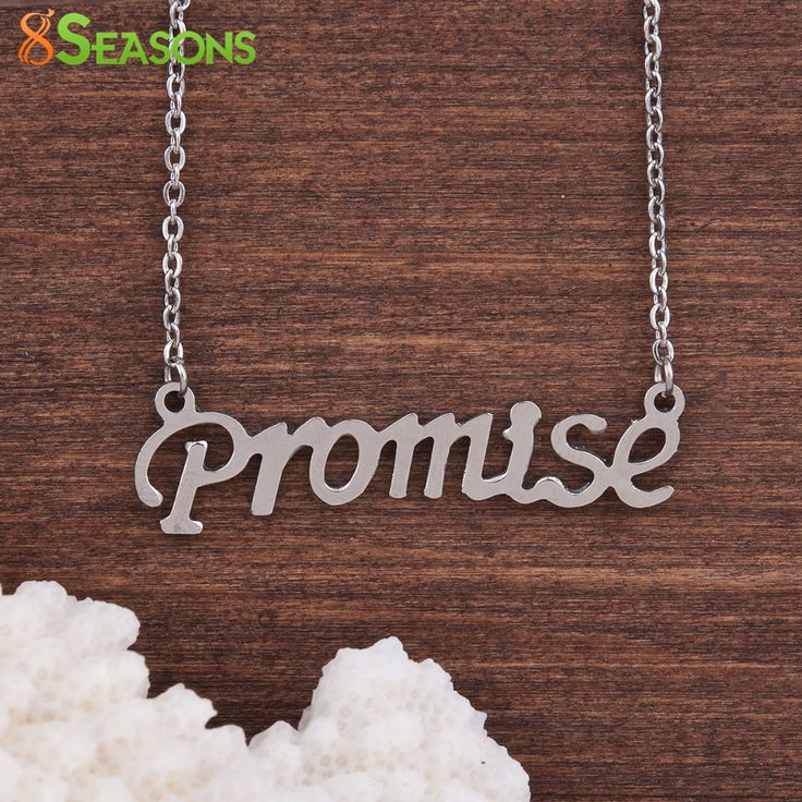"""8SEASONS 304 Stainless Steel Necklace Silver Tone Color Message """" Promise Goodluck Dream """" 52cm(20 4/8"""") long, 1 Piece"""