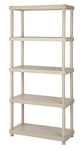 5-Shelf Heavy Duty Freestanding Plastic Shelving Unit Storage Rack Sand Office #Keter