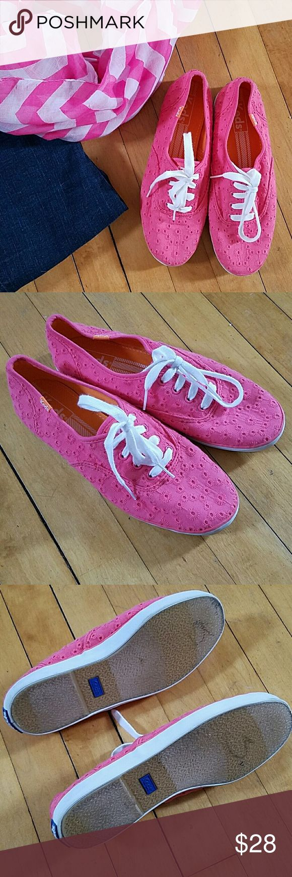 Keds Champion Pink Eyelet Like new! Keds Champion Pink Eyelet shoes. Excellent condition, one tiny mark on toe. See photo. Size 7, run a bit large. Keds Shoes
