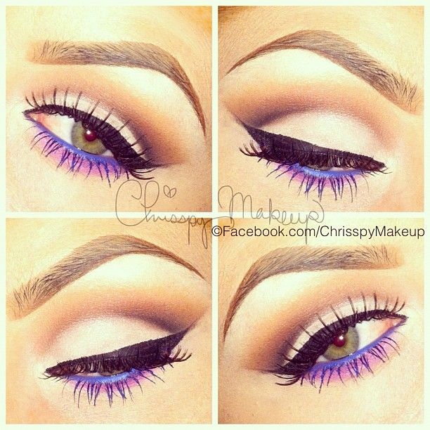 Purple/Blue Eyes by @chrisspymakeup in Motives Eyeliner(Amethyst & Electric Blue) and Black Gel Liner!   #Eyes #Blue #Purple