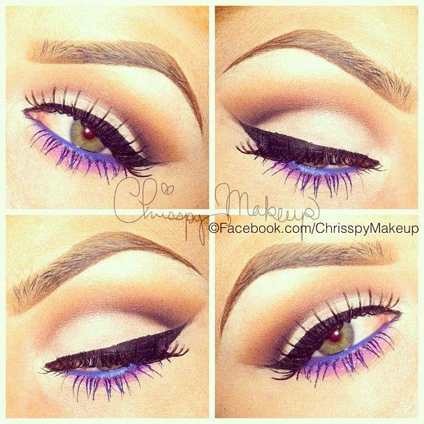 Photo by chrisspy: Makeup Nails, Make Up, Eye Makeup, Cat Eye, Color, Purple Eyeliner, Makeup Ideas, Beauty, Purple Liner