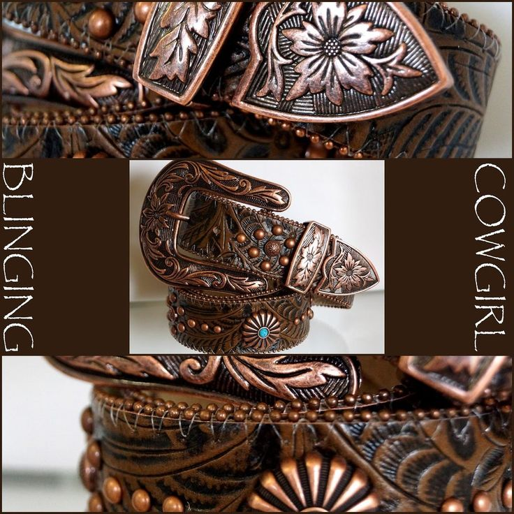 Ladies Western Embossed Leather Belt - Turquoise Flower Concho Bronze S-M-L-XL