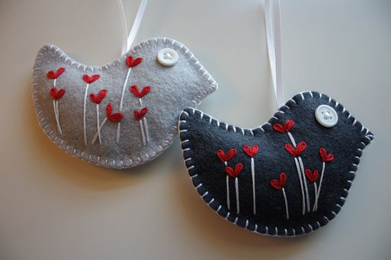 Felt Bird Ornaments/ Decorations by GeorgeNRuby on Etsy, $12.00