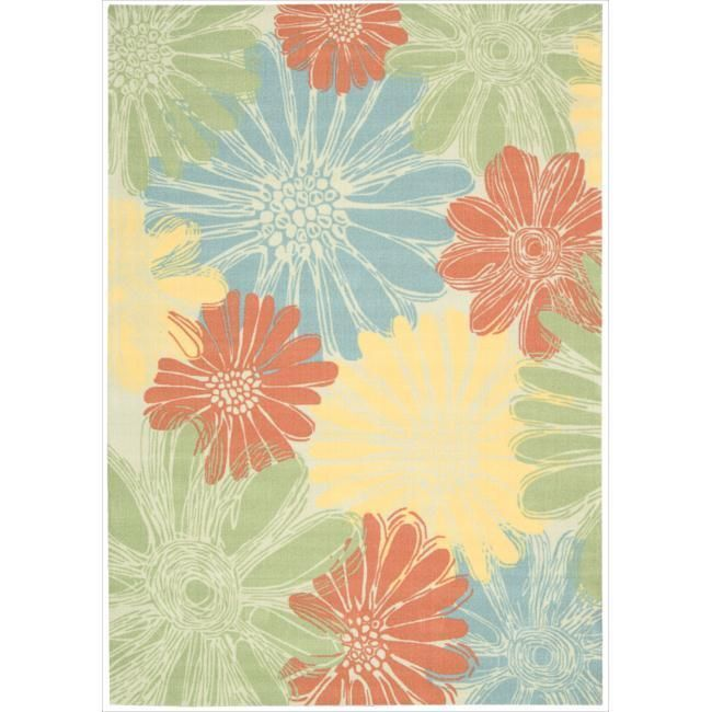 indoor outdoor floral area rug 53 x75 blue orange green yellow patio - Blue And Yellow Bedroom Rugs