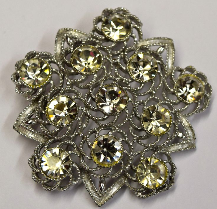Vintage Flower Brooch Pin Clear Stones