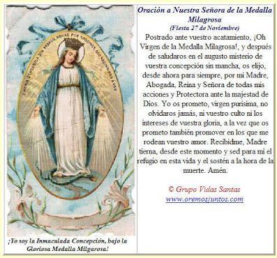 Image result for oracion a la Virgen Milagrosa para persona muy enferma