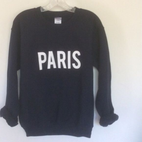 Paris navy Blue pullover sweatshirt Paris printed on a navy blue sweatshirt. Oversized 50/50 pullover soft thick and comfortable. SELECT SIZE AND ADD TO CART I have 10% off 2 or more items Tops Sweatshirts & Hoodies