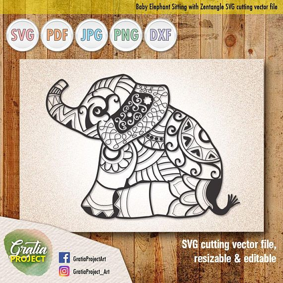 Baby Elephant Sitting Down with Mandala Zentangle SVG Cutting