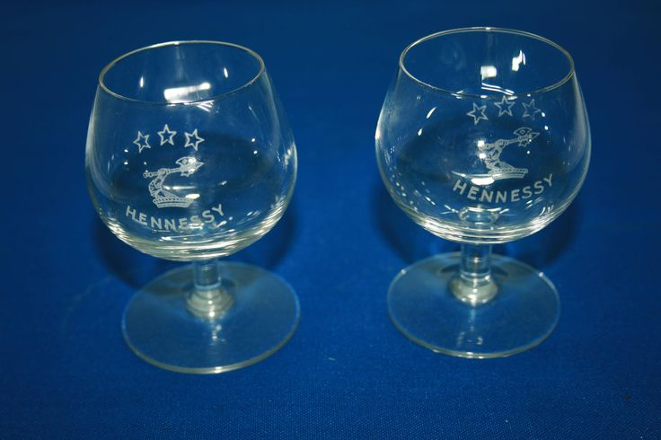 Vintage Pair Acid Etched Miniature Hennessy 3 Star Cognac Snifter Knight's Arm and Battle Axe, Hand Blown tasting glass, shot glass Brandy by KattsCurioCabinet on Etsy