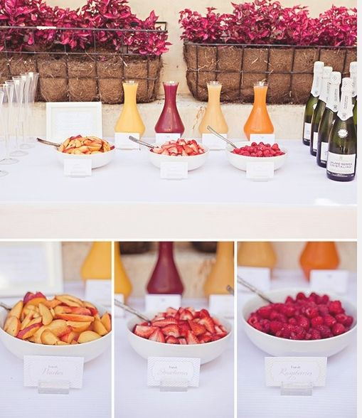 Bellini Bar ... Variety of purées, juice  fruit to mix and match. Think raspberry, cranberry, orange, peach, blueberry.