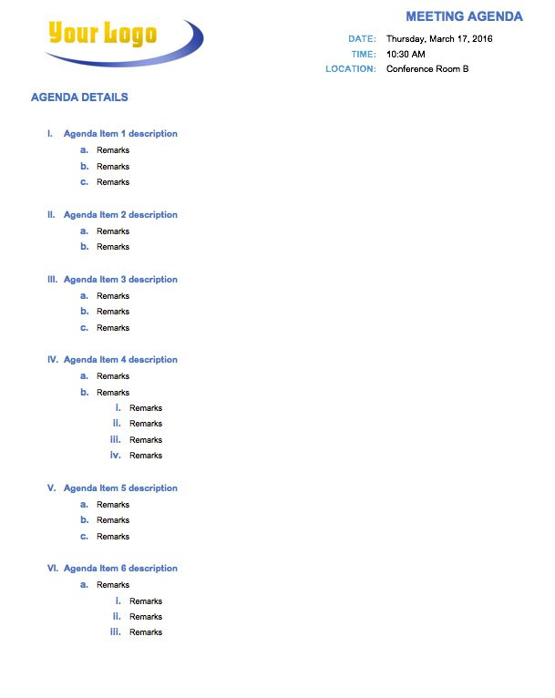 meeting agenda word template