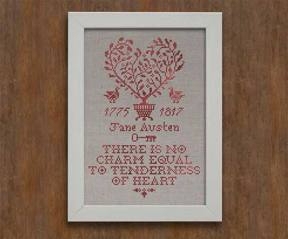PDF Tenderness of Heart A Jane Austen Sampler Valentine's Day cross stitch patterns by Modern Folk at thecottageneedle.com monochromatic by thecottageneedle