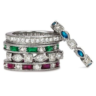 """""""Simulated Emerald Sapphire Ruby 5 Band Stackable Ring Set"""" Sparkle as much or as little as you like with the Mayfair Stack Ring Set. Mix and match any or all of the five gorgeous Mayfair faux ruby, faux emerald or faux sapphire eternity band rings with their brilliant white cubic zirconia accents and emerald, round and marquise shapes for a look that's all your own."""