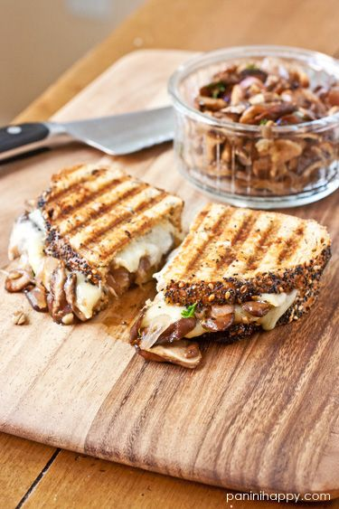 Wild Mushroom Melt Panini- Vegans use vegan earth balance butter and vegan follow your heart shredded monetary Jack Cheese- I like Follow Your Heart Vegan Cheese as I think it melts best and looks more like cheese on dishes...After shredding cheese I mix a little Mrs. Dash in it and a little Nutritional  Cheese in it as it gives it a more cheesy flavor in dishes.