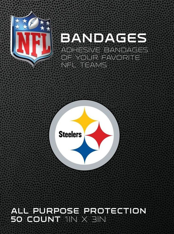 "NFL Bandages Pittsburgh Steelers Team Logo 1""x3"" Sterile Adhesive Strips 50/box #CureitBrand #PittsburghSteelers"