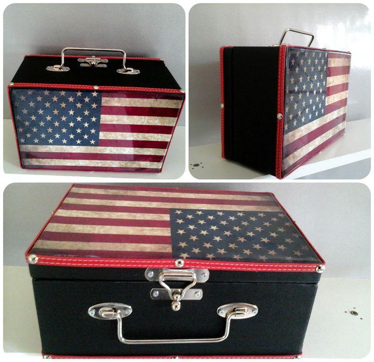 Maleta vintage bandeira americana
