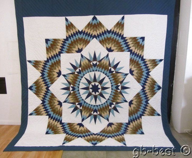 Spectacular Amish Compass Star Quilt Brown Blue 100 x 111 Gift Quality Wedding | eBay