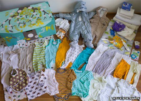 """""""For 75 years, Finlands expectant mothers have been given a box by the state. Its like a starter kit of clothes, sheets and toys that can even be used as a bed. And some say it helped Finland achieve one of the worlds lowest infant mortality rates.""""  It even includes cloth diapers and a baby book, and no pacifiers to interfere with breastfeeding."""