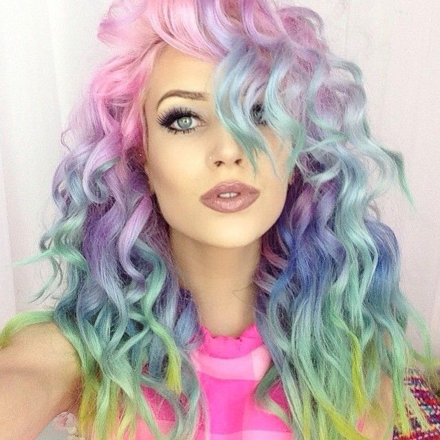 Every. Single. Picture. Of. @amythemermaidx is. So. #Beautiful. You can get her #hair using all #manicpanic #colors !!! Be sure to mix each #dye with #pastelizer before using, to get light tints like this. Use our #CottonCandyPink , #AtomicTurquoise , #BlueMoon , #PurpleHaze and #ElectricBanana . Be sure to apply over tresses bleached to a level 9 or 10 #platinum #blonde