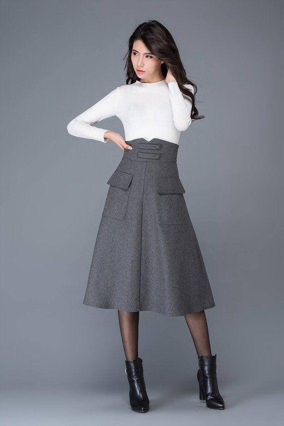 Gray wool skirt de7979e3944