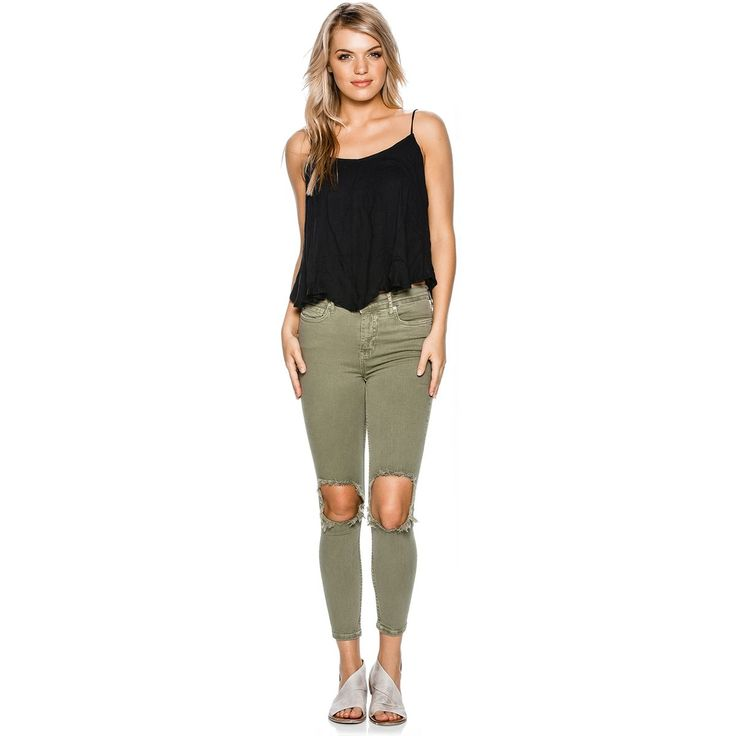"""Free People High Rise Busted Skinny Denim. Women's skinny jean. Super stretchy high rise skinnies. Busted out knee and raw edge detailing. Ankle grazing inseam. Five-pocket style. Button closure and zip fly. Inseam Length: 27"""". 88% Cotton, 8% Polyester, 4% Elastane. Imported. Vendor Style #: OB583769. Size & Fit Guide Model is wearing size Small. Model's height: 5'8"""" Model's chest: 30.5 inches. Model&#..."""