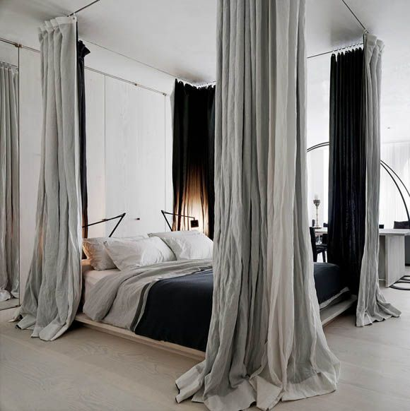 Modern Bedroom Design. A cool, crisp, canopy bed. Interior Designer: Rick Joy.