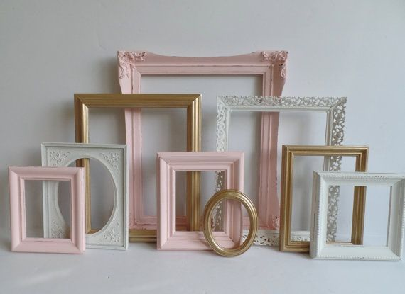 Ornate Shabby Chic PICTURE FRAMES Collection - Set of 9 - Vintage - Baby Girl Nursery - Pink Gold Cottage White - Distressed - Gallery Wall