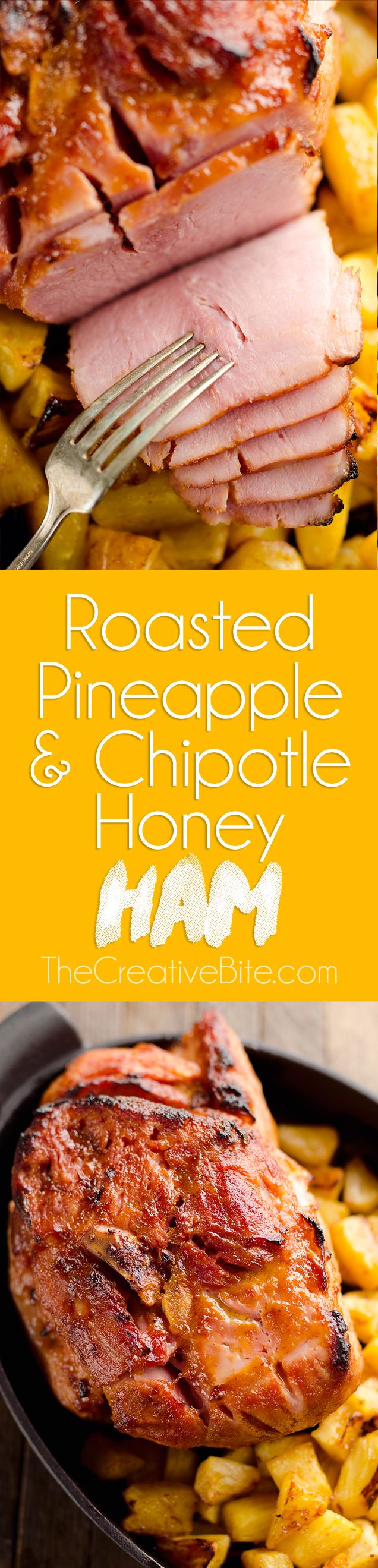 Roasted Pineapple & Chipotle Honey Ham is a sweet and spicy twist on your traditional holiday meal. This easy recipe is finished off with fresh pineapple roasted to sweet perfection for a delicious compliment to the salty and smoky ham. #Holiday #Ham #Pineapple