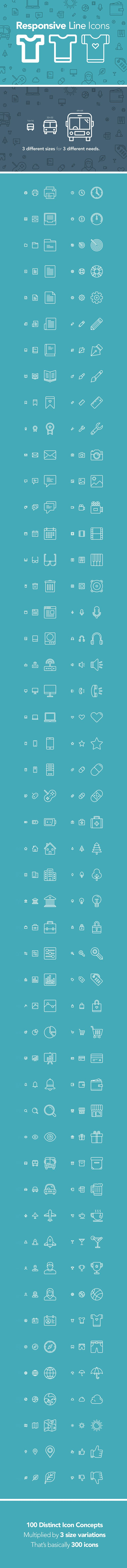 Free 100 Responsive Line Icons | AI, EPS, SVG, PSD (71 MB) By Zlatko Najdenovski on pixelbuddha.net