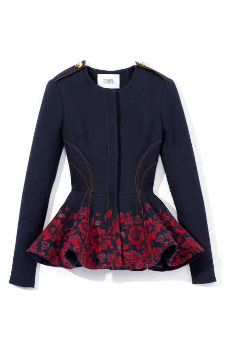 Prabal Gurung Embroidered Denim Peplum Jacket