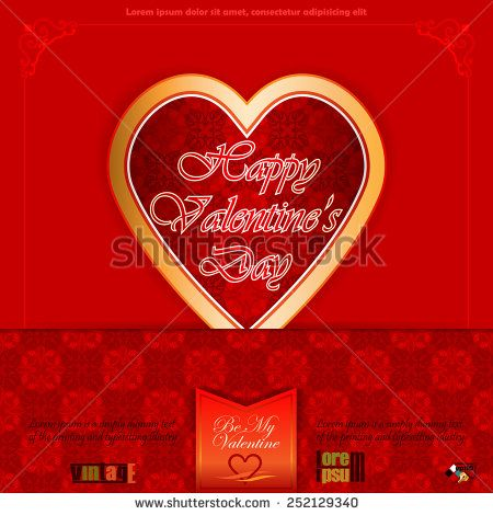Vintage labels with Happy Valentine's Day text; Be My Valentine text and nice heart logo;Ornamental arabesques background.  - stock vector