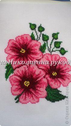 Картина панно рисунок Вышивка Вышивка крестом Аквилегии вышивка лентами Ленты фото 5