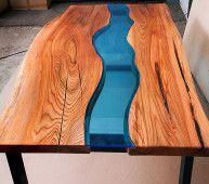 Стол Река Овальный - обеденный стол из массива дерева и стекла