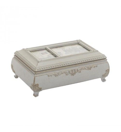 POLYRESIN MUSIC BOX IN CREME COLOR 18X11_5X7