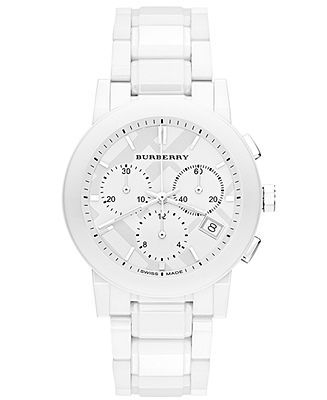 Burberry Watch, Swiss Chronograph White Ceramic Bracelet 38mm BU9080 - Women's Watches - Jewelry & Watches - Macy's;  I wish I could afford this