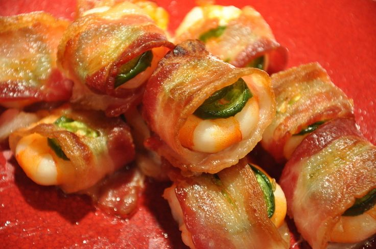 Shrimp with a slice of fresh jalapeno wrapped in bacon #appetizer