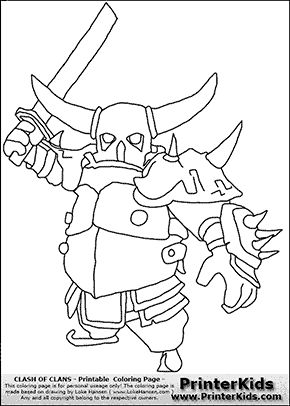 Clash Of Clans P E K K A 2 Coloring Page Birthday