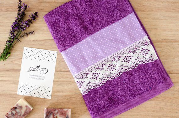 Decorative Hand Towel Lavender Towel Handmade Decorated Towel Purple Towel Bathroom Towel Decorative Hand Towels Purple Towels Hand Towels