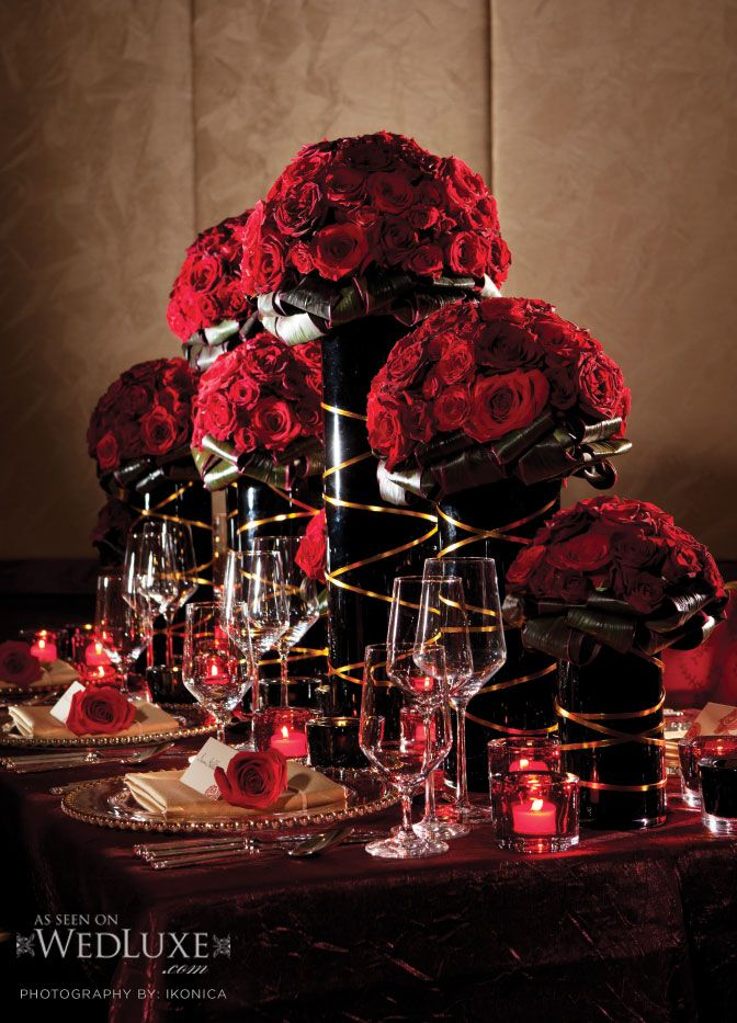 A Little Over The Top But We Could Use Just One Large Red Wedding CenterpiecesWedding DecorCenterpiece FlowersCenterpiece