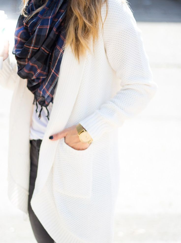 cocoon cardigan and plaid infinity scarf - The Fashion Hour Blog - www.thefashionhour.com
