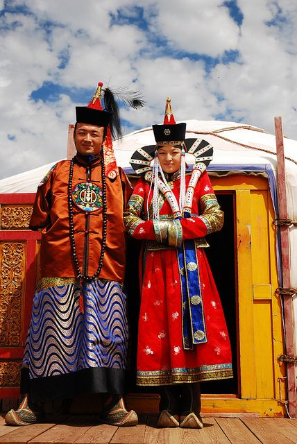 Mongolian traditional clothes by Bilgee_L, via Flickr.  (Something tells me that the designers for  Star Wars Episode I got their idea for Queen Amidala's headdress from this costume.)