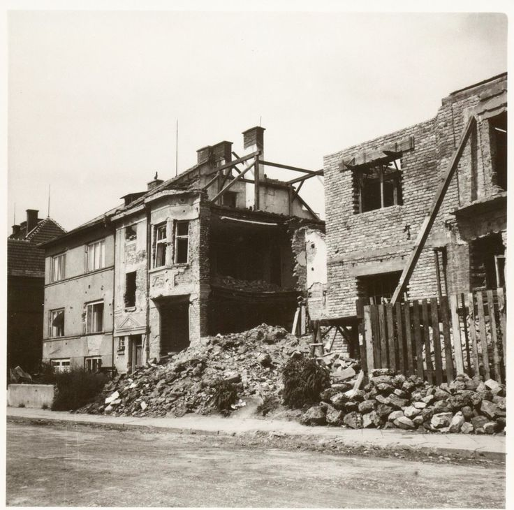 Brno 1945 - My grandparents' house survived (it's on the very left)